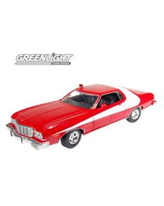FORD GRAND TORINO 1974 STARSKY ET HUTCH ROUGE AVEC BANDES BLANCHES 1/18 - Greenlight - 12855
