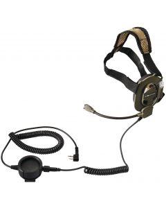 BOW M-TACTICAL - Casque audio tactique de tête avec micro-tige pour ALAN et ICOM - Midland