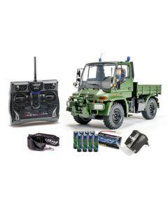 Unimog 300 Desert RTR Carson : voiture radiocommandée camion rc carson de type maquette fourni avec radiocommande 2.4ghz, batterie rechargeable et chargeur