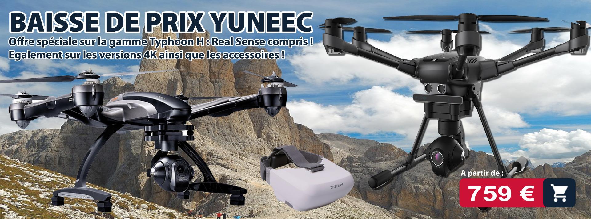 Drone Yuneec : typhoon H, Typhoon 4K avec radicommande et retour image