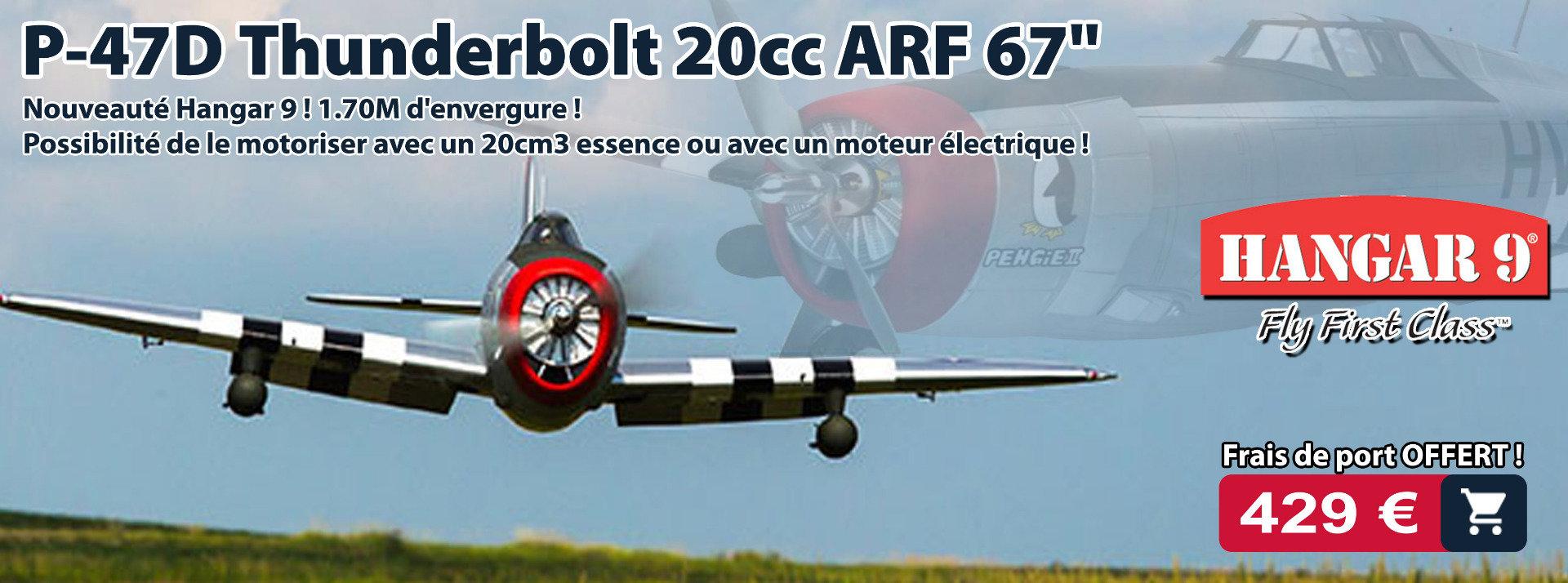 "P-47D Thunderbolt 20cc ARF 67"" (HAN2990) : avion warbird modélisme RC 20cm3"